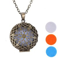 """Wholesale Charm Pendants Bronze Flower - Hollow Out Antique Bronze Aromatherapy Locket Jewelry Essential Oil Diffuser Floating Locket Pendant Necklace With 24"""" Chain And 28mm Charm"""
