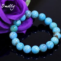 Blue Turquoise, pérolas de pedras semi-preciosas naturais de alta qualidade 6mm / 8mm / 10mm Bead Stone Beaded Bracelets Crystal Gemstone Jewelry Wholesale