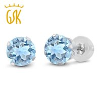 Wholesale blue topaz white gold earrings - GemStoneKing 2.39 Ct Round 6mm Sky Blue Topaz Classic Stud Earrings For Women Fashion 14K White Gold Fine Jewelry 2016 New