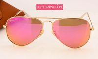 Wholesale Pink Rose Flash - LUXURY sunglasses women rose pink flash mirror sunglasses metal gold frame glass lens best quality brand designer pilot sun glasses 58mm