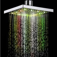 Wholesale Dual Rain Shower - 1pcs 2016 New Arrival Modern LED Color Changing Water Glow Square Temperature Sensor Color Changing Rain Bathroom Shower Head