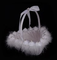 Wholesale Heart Pillow White For Wedding - Wedding Ceremony Love Case Beads Lace Ostrich Hair Heart Shape Basket for Home Decoration Storage Bag Container BD033