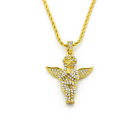 Wholesale Mens Gold Chain 24 Inch - Mens Vintage Angel Wing Pendant Box Chain and Rope Chain 18K Gold Plated Iced Out Pendant Necklace 24 Inch Long