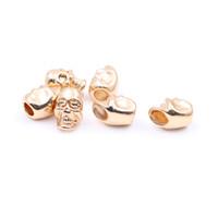 Wholesale Skull Bracelets Rose - New Fashion Hole 6mm Rose Gold Plated Skull Big Hole Beads fit Diy Twin Skull Bracelets