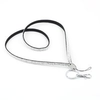 Gros-1pcs w / Ring Key Holder Crystal Rhinestone Bling personnalisé Lanyard ID Badge Cellphone Date
