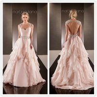 Wholesale Designer Beaded Wedding Gowns - 2016 Fancy New Designer Blush Wedding Dresses Sweetheart Cap Sleeves Backless Beaded Summer Vintage Bridal Gowns with Tiers Ruffles