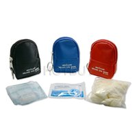 Wholesale CPR One way Vavle Rescue Face Mask Protect Gloves And Swabs CPR Emergency Mini Portable First Aid Kits