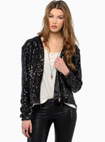 Wholesale Neon Color Cross - wholesale Neon pink shiny sequined jacket lapel short paragraph long-sleeved sequined women jacket 2 colors Size XS-2XL free shipping