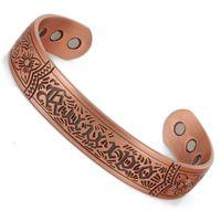 Wholesale Magnetic Mans Bracelets - anti arthritis rheumatism cool gifts men magnetic pure copper bracelet vintage