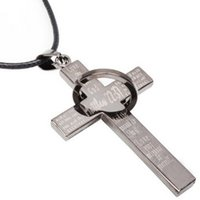 Wholesale Factory Direct Loop - Unisex Titanium Steel CROSS with Loop NECKLACE US UK Hot Pendant Necklaces FACTORY DIRECT Pendant Necklace FAST RECEIVING FAST DELIVERY