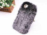 Wholesale Diamond Mobile Phone Cover - Luxury Rabbit Fur Hair Hard Mobile Phone Case For iPhone 6 plus  6s plus Cute Hairy Bling Diamond Slim Back Cover Capa