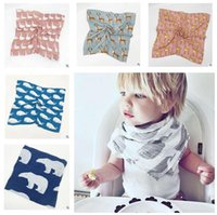 Wholesale Muslin Cloths Wholesale - Baby Bibs Swaddles Baby Cotton Muslin Saliva Towels Burps Cloths Bandana Napkin Baby Scarf Christmas Gifts DHL Free Shipping