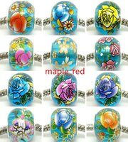 50pcs Round Mixed Lake Blue Flower Crystal Beads para Jóias Making Loop Lampwork encantos DIY Beads para Pulseira Atacado em Bulk Low Price