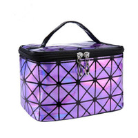 sport stil string tasche rucksack groihandel-Fashion Brand of Women's Purple PU Leather Cosmetic Bags Travel Organizer Necessarie Cosmetic Makeup Bag New Design
