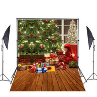 Wholesale Christmas Scenic Backdrops - 6.5x5 Polyester Cotton Christmas Tree Decoration Gift Box Photo Background Seamless Waterproof Printed Photography Backdrop backdrop G-806
