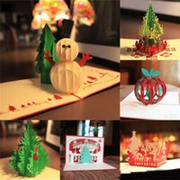 Wholesale New Handmade Merry Christmas Greetings Cards Kirigami D Pop up Christmas Tree Snowmen Card hot