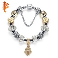 Wholesale Murano Glass Beads Gold - BELAWANG Rose Gold Palm Hamsa Hand Pendant Charm Bracelets&Bangles For Women with Clear Murano Glass Beads Jewelry for Valentine's Day