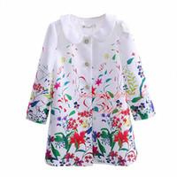 çiçek palto toptan satış-Pettigirl 2016 Ilkbahar ve Sonbahar Kız Baskılı Mont Moda Çiçek Baskı Uzun Kollu Dış Giyim Moda Çocuklar Paltolar DMOC81208-6L
