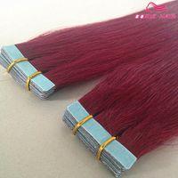 burg saç uzantıları toptan satış-Sıcak satış saç uzantıları burg renk 40 adet ipeksi düz perulu Bant İnsan Saç Uzantıları remy İnsan saç ücretsiz DHL