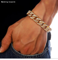 Wholesale 24k Gold Plated Bangles - High Quality 24K Solid Gold Plated MIAMI CUBAN LINK Chain Shiny Diamond Bracelets Hip Hop Bling Jewelry Hipster Men Wristband Bangle
