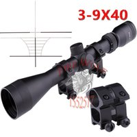Wholesale Snipers Rifle Scope - Wholesale Free shipping Pro 3-9x40 Hunting Mil Dot Air Rifle Gun Outdoor Optics Sniper Deer Hunting Scope + Rail MOUNTS
