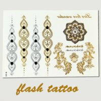 4 Stücke / Los Haar-Tattoo Set Lotus Flash-Tattoo Gold Silber Metallic temporäre Tätowierung Tatuagem Henna Taty Tatuajes Flash-Tatoo