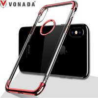 Wholesale Iphone Cases Luxury Chrome - Plating Case for iPhone X Luxury Chrome Transparent Anti fall TPU Gel Mobile Phone Back Case Cover