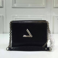Wholesale black 335 - New Guaranteed Genuine Leather Twist Denim Medium Crossbody Bag Women Single Shoulder Chain bag Free Shipping 335