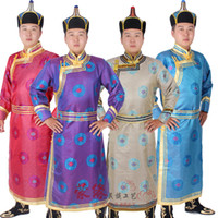 Wholesale Chinese Wedding Traditional Wear - New style national dress male long robe Mongolian costume traditional wedding party festival performers wear folk dance clothing