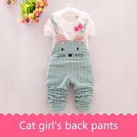 Wholesale Blue Trousers For Girls - Girl's back trousers suit for autumn wear T-shirt pants two pieces