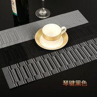100% Polyester black dining table sets - PVC Textilene Placemats Black Piano Key Dining Table Mat Heat Insulation Table Decoration CM Set of