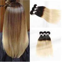 Wholesale Pretty Virgins - pretty blonde ombre 100% Peruvian Brazilian virgin human hair bundles weft 2 tone ombre silk black blonde straight hair weave extension