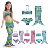 Wholesale Hot Bikinis For Kids - 2016 HOT 4 colors kids the mermaid bikini set skirt swimsuit 3 pcs children bathing suit for baby girls swimwear S-3XL Y05