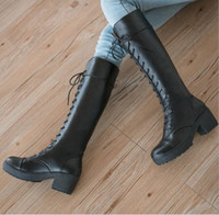 Wholesale High Heel Winter Boots Sale - Hot Sale Fashion Big Size 35-39 Lace up Knee High Boots Knight Thick High Heels Boots for Women Autumn Winter Shoes Platform Winter Boots