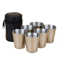 Wholesale Travel Plastic Cup Set - Wholesale- 6PCS Travel Outdoor Cups Shots Set Stainless Steel Mini Glasses For Whisky Wine 30ml LH8s