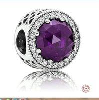 Wholesale purple bangles - New Fashion 925 Sterling Silver Zircon European Charms Bead Fit Pandora Snake Chain Bracelets Bangles DIY Jewelry Loose Beads 004