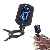 Wholesale Portable Bass Guitar - ET33 Portable Guitar Tuner Color Screen Digital Tuner Clip On Design for Chromatic Guitar Bass Ukulele Violin free shipping