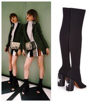 Wholesale Stretch Over Knee Boot - Plus Size European Fashion Women's Over the Knee Stretch Boots Star Decor Thick Heel Peep Toe Sexy Long Boots Black