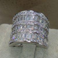Wholesale Rings Size5 - 2016 New Brand Desgin Luxury Jewelry 925 Sterling Silver Full Topaz CZ Diamond Gemstones Wedding Engagement Women Finger Ring gift Size5-11