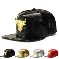 Wholesale Bulls Balls - Hip Hop Fashion PU Leather Baseball Caps American Basketball Bulls Snapback Hat Adjustable Bone Brimmed Cool Cap