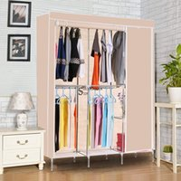 Wholesale 68 quot Portable Wardrobe Home Clothes Non Woven Shelves Closet Storage Organizer
