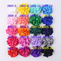 """Wholesale Small Grosgrain Hair Bows - 3 """" Baby Girls Boutique Flower Bow With Clips Solid Grosgrain Ribbon Hair Bows For Small Girls Kids Handmade Hair Accessories"""