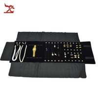 Wholesale Travelling Jewelry Display Cases - 2016 Brand New Jewelry Display Black Velvet Necklace Holder Watch Storage Case Jewellery Travel Roll Bag