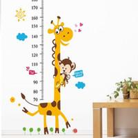 zürafa duvar etiketi yükseklik çizelgesi toptan satış-Çocuk Yükseklik Grafik Duvar Sticker Dekor Karikatür Zürafa Yükseklik Cetvel Duvar Çıkartmaları Ev Odası Dekorasyon Duvar Sticker Sanat Poster