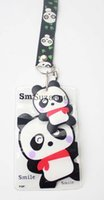 Nouveau 50pcs Cartoon mignon Chine Panda noir Lanyards ID badge Titulaire Mobile Phone Straps gros
