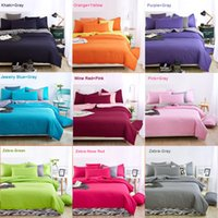Wholesale Wholesale King Bedding - 21 colors bedding set queen Custom Size Solid Color 4pcs duvet covers bed sheet bedclothes set King Queen Twin Fitted Cover Bed