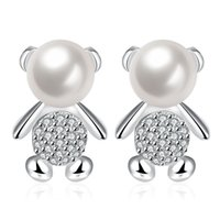 Wholesale Pearl Bear Rhinestones - Adorable New Style Pop Style Mini Cute Bear Silver Pearl Earrings High Quality Simple Charm Explosions Best Christmas Gift on Wholesale