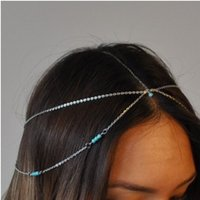 Bohemian Turquoise Forehead Band para mulheres Silver Gold Plated Forehead Dance Headbands Hair Jewelry Forehead Headband Piece