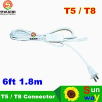 Wholesale Led Lamp Wire - US Plug 6ft T5 T8 LED Tube Wire switch Connector With ON OFF Switch Power Cord Extension Pigtail Cord for Lamp Light Port