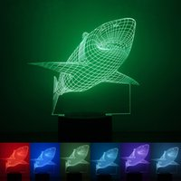 Wholesale Shark Night Lights - Shark Shape LED Light Adjustable Seven Colors 3D Lamp with ABS base Touch Switch Night Lights Green Purple 29rm B